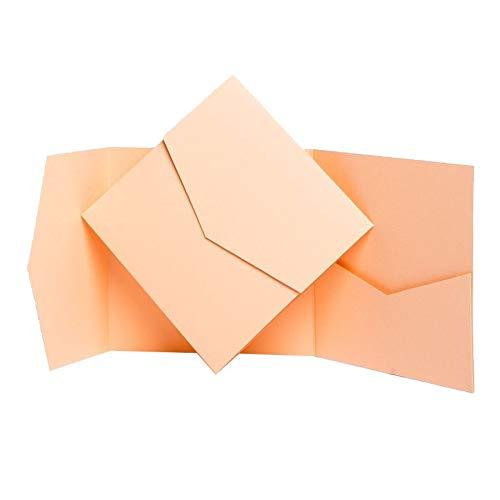 Pocketfold Invites Ltd Einladungskarten matt apricot aprikose 144 x 144 mm