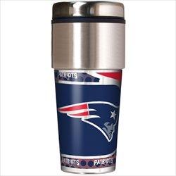 New England Patriots 16 oz Travel Tumbler with Metallic Wrap