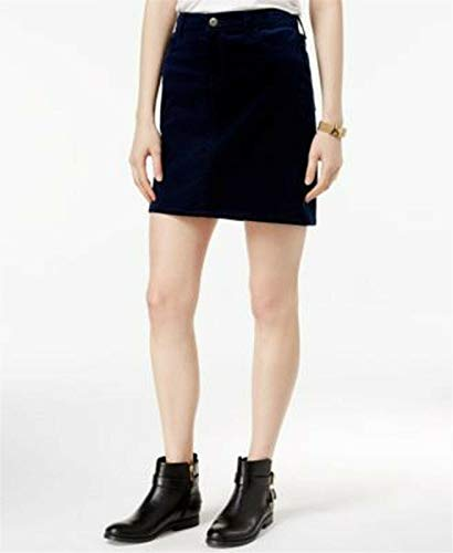 (Tommy Hilfiger Womens Corduroy Ribbed Mini Skirt Navy)