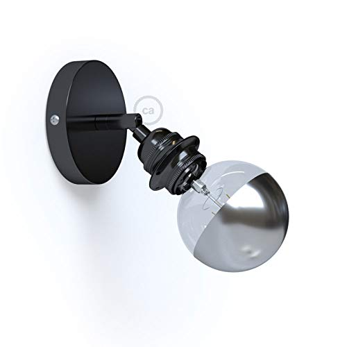 Fermaluce Metallo 90° Black Pearl Adjustable, with E26 Threaded lamp Holder, The Metal Wall or Ceiling Light Source ()