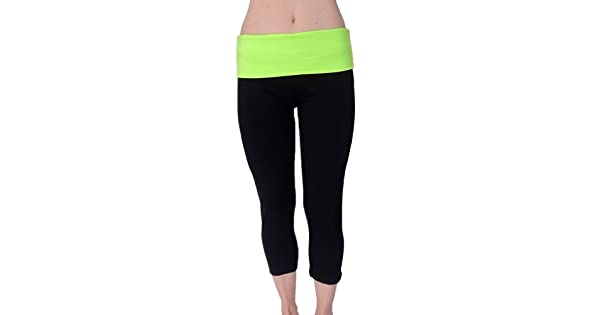 Amazon.com: Fold Down cintura Yoga Capri pantalones, S: Clothing