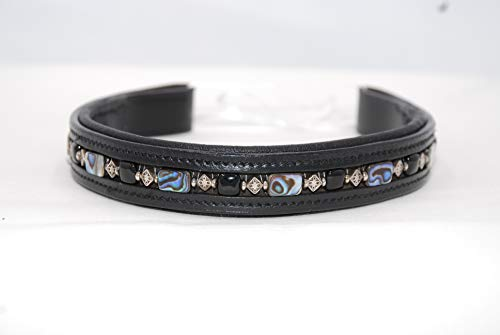 Cob Black Browband with Abalone Beads Onyx Beads