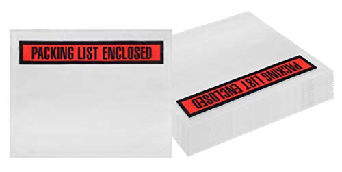 - Packing List envelopes 7 x 5.5 Document mailers 7 x 5 1/2 by Amiff. Pack of 100 2 mil Thick envelopes. Red Panel Face