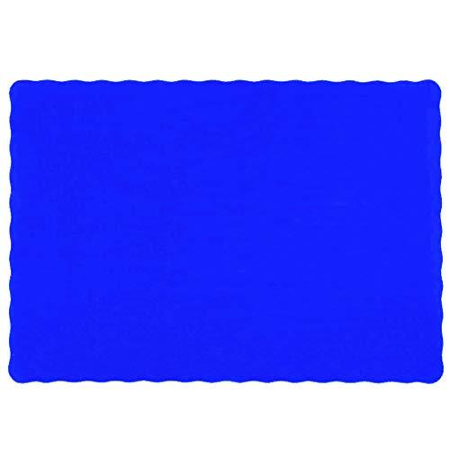 Raise Flat Disposable Paper Placemats, Blue, Scalloped Edge, 10