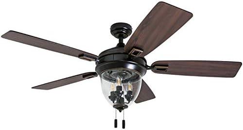 Honeywell Ceiling Fans 50615-01 Glencrest 52 Indoor Outdoor, LED Edison Bulbs, ETL Damp Rated Aged Teak Dark Walnut Blades, Oil Rubbed Bronze