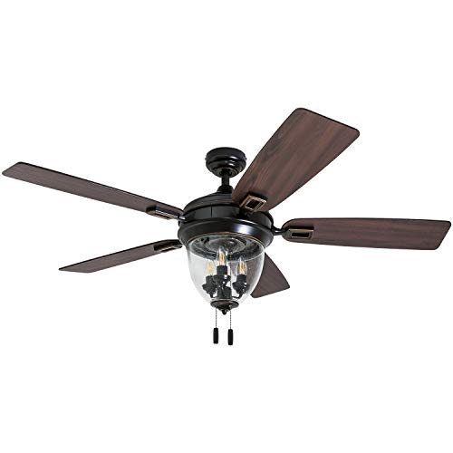 Honeywell Ceiling Fans 50615-01 Glencrest 52 Indoor Outdoor, LED Edison Bulbs, ETL Damp Rated Aged Teak Dark Walnut Blades, Oil Rubbed Bronze