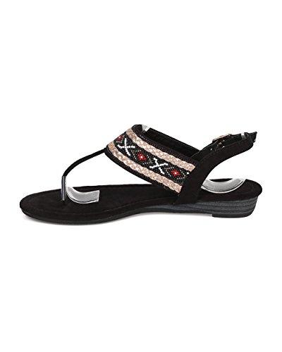 Alrisco Kvinner Perlestamme Sandal - T-stropp Sandal - Mikro Kile Sandal - Slingback Sandal - Gi43 Av Sort Blanding Media