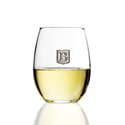 Wine Standard Monogram - Fine Occasion Personalized Stemless Wine Glass with Letter Crest (B, 15 oz)