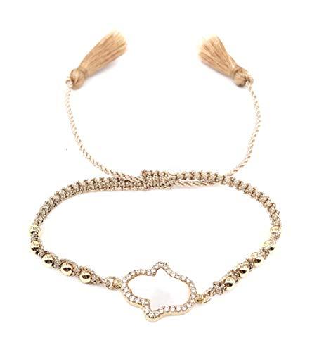 Tassel Braided Gold (LESLIE BOULES Hamsa Hand Gold Beads Braided Bracelet Adjustable with Charm Tassels)