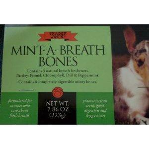 Trader Joe's Mint-A-Breath Dog Bones, 6 Bones (Pack of 2)
