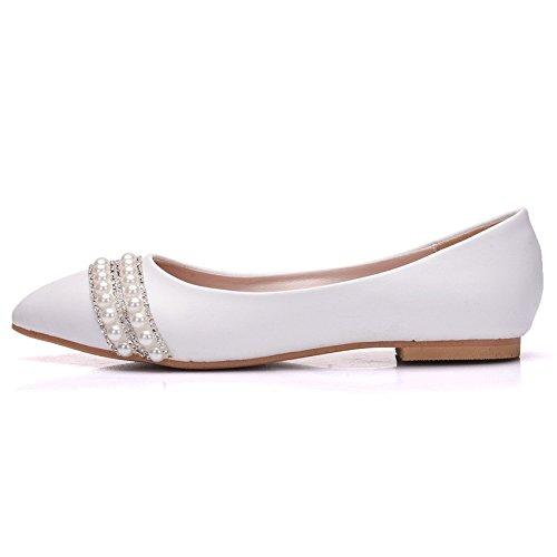 Cristal de fondo plano zapatos Zapatos de novia boda blanco taladro agua cómodos zapatos de mujer white