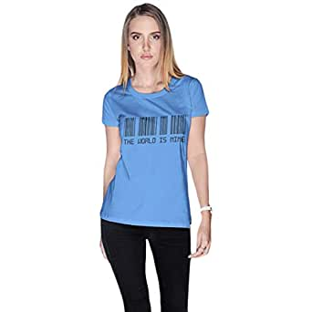 Creo Blue Cotton Round Neck T-Shirt For Women