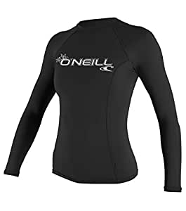 O'Neill Wetsuits UV Sun Protection Womens Basic Skins Long Sleeve Crew Sun Shirt Rash Guard, Black, X-Small