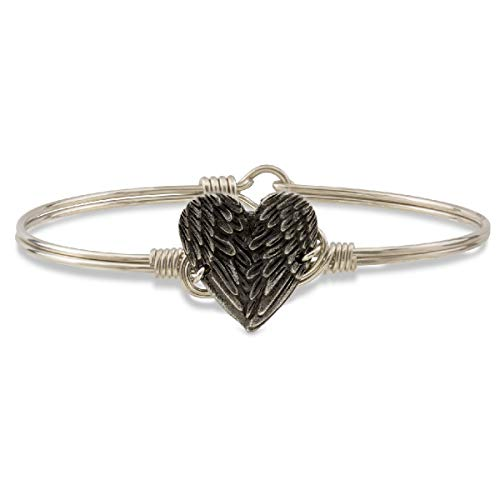 Luca + Danni | Angel Wing Heart Bangle Bracelet for Women - Silver Tone Size Regular Made in USA