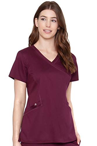 Med Couture Touch Women's Mock Wrap Scrub Top, Wine, X-Small
