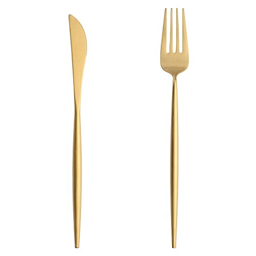 Chic Stylish Gold Stainless Steel Flatware Set with Long Handle Forks Knife Spoon Cutlery Kit (2, Brass Gold)