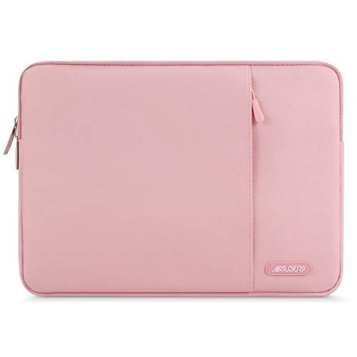 MOSISO Polyester Vertical Style Water Repellent Laptop Sleeve Case Bag Cover with Pocket Compatible 13-13.3 Inch MacBook Pro, MacBook Air, Notebook, Pink