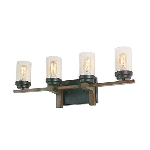 Eumyviv Rustic Style Bathroom Lighting Metal Wall Sconce with Seeded Glass Shade, -