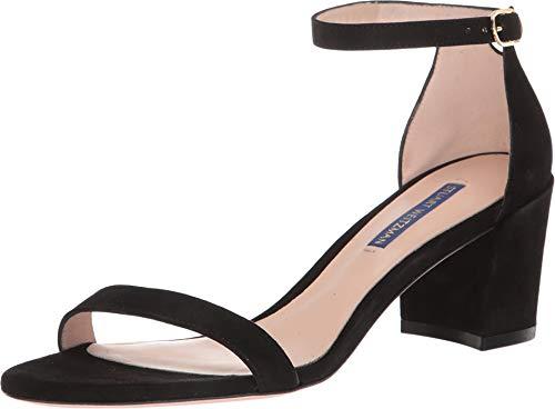 Stuart Weitzman Women's Simple Sandal, Black Suede, 9 Medium US