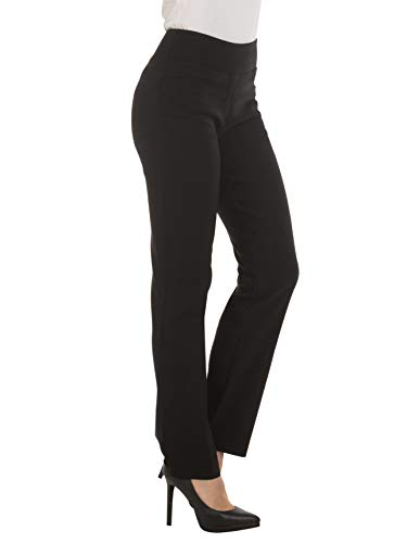 Womens Bootcut Stretch Dress Pants – Comfy Pull On Style, Red Hanger, Black-M