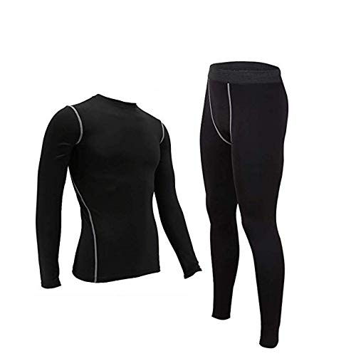- Mens Cool Dry Compression Set 2pcs Long Underwear Set Base Layer for Skiing Running Black 3XL