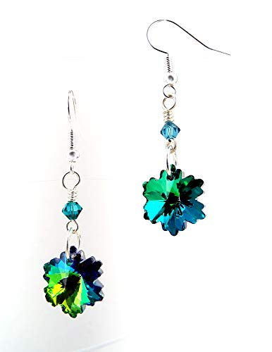 - Crystal Snowflake Earrings Multi Toned Teal with Silver Toned Ear Wires and Crystals by Swarovski