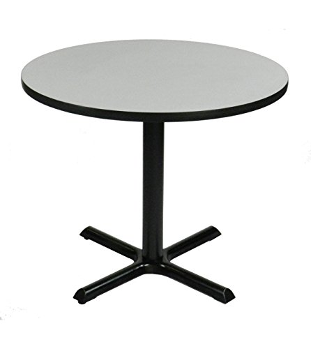 (Correll BXT30R-15 Gray Granite Top and Black Base Round Bar, Café and Break Room Table, 30
