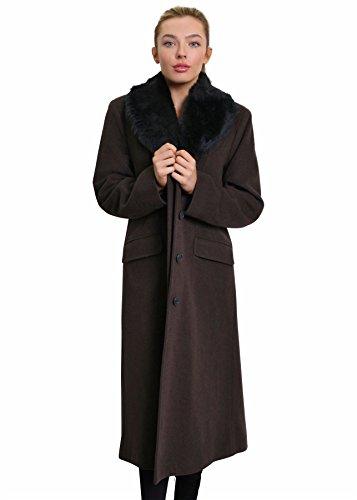 Pelliccia La Collo Lungo Cappotto Misto Invernale In Marrone Creme Donna Lana Finta x0IwC0rq6