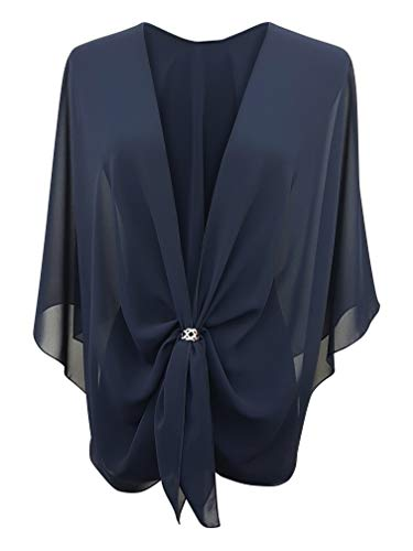 eXcaped Women's Evening Shawl Wrap Sheer Chiffon Open Front Cape and Rose Gold Scarf Ring (Dark Navy) ()