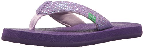 Sanuk Kids Girls' Yoga Glitter Flip-Flop, Purple, 2/3 M US Little - Havianas Kids For