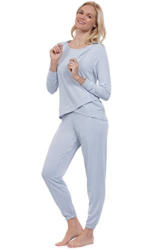 - Addison Meadow Pajama Set for Women with Hood - Long Sleeves, Blue, X-Large (16)