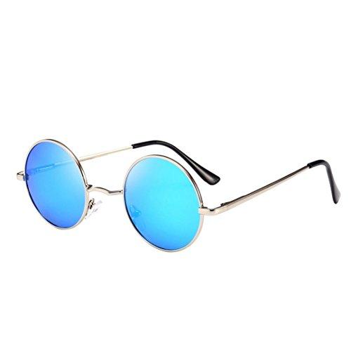 Lentille Rétro De Chic Argentée Miroir Adeshop Aviateur 7 Soleil Mode Boîte Couleurs Bleu Femmes Hommes Glacier Circulaire Unisexe Lunettes Verres qx8q7YtnRw
