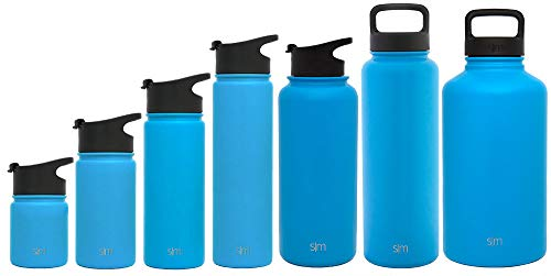 Summit Water Bottle - Stainless Steel Hydro Metal Flask +2 Lids - Wide Mouth Double Wall Vacuum Insulated Blue Large 2 Liter Half Gallon Cold Leakproof Thermos - Sky ()