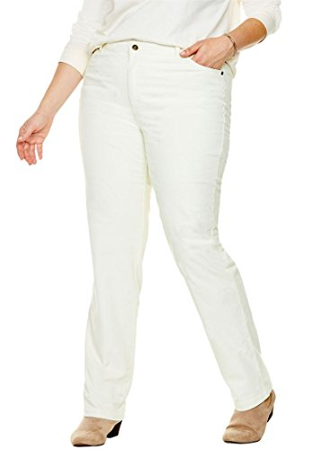 Woman Within Plus Size Corduroy Straight Leg Stretch Pant - Ivory, 24 W