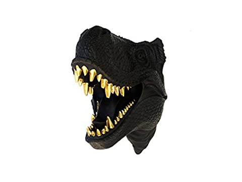 T-Rex Dinosaur Head Wall Mount - Black with Gold Teeth - Dinosaur Faux Taxidermy TX1708 - Dinosaur Head
