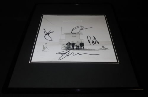 Weezer Group Signed Framed 12x12 Poster Photo Rivers Cuomo +3 (Weezer Signed)