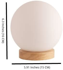Bedside Lamp Iris Glass Ball Table Lamp Small Lamp Natural Wooden Base with Round Glass Shade Nightstand Lamp
