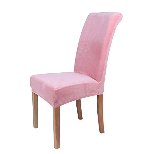 Home Fabric Decor (Colorxy Velvet Spandex Fabric Stretch Dining Room Chair Slipcovers Home Decor Set of 2, Pink)