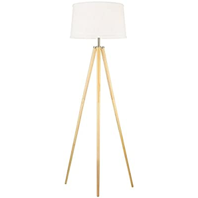 """Revel Grace 60.5"""" Contemporary Wooden Tripod LED Floor Lamp + 10.5W Bulb (Energy Efficient/Eco-Friendly), White Shade - COZY, CONTEMPORARY DESIGN: Crafted of gorgeous, natural wood, this standing, tripod floor lamp provides a comfortable, warm glow that also showcases elegance and beauty. This fixture also includes a white drum shade that sits perfectly atop the three legs UNIQUE DECORATIVE PIECE FOR ANY LOCATION: Place this bright, elegant floor lamp in any room or decor to complement the style of your home. Ideal for the bedroom, living room, dining room, kitchen, office, study, den, college dorm, entryway or hallway UL LISTED FOR YOUR SAFETY: UL listed for dry locations. Includes (1) 10.5W LED bulb. Compatible with LED, CFL, or up to 150W traditional incandescent medium base bulbs - living-room-decor, living-room, floor-lamps - 31kiC4l2 VL. SS400  -"""