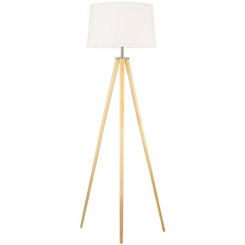 "Revel Grace 60.5"" Contemporary Wooden Tripod LED Floor Lamp + 10.5W Bulb (Energy Efficient/Eco-Friendly), White Shade"