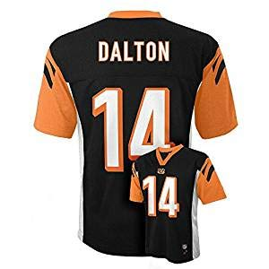Andy Dalton Cinncinati Bengals #14 Black NFL Youth Black Mid Tier Jersey (Large 14/16)