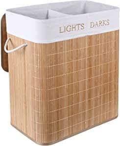 Gris 95 L Relaxdays Cesto Ropa Sucia Rectangular con 2 Compartimentos Cubo Colada Bamb/ú Canasta con Tapa