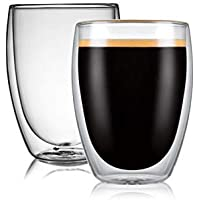 CnGlass Double Wall Thermo Glass Mugs 11.8oz,Clear Latte Cups Set of 2 Insulated Glass Coffee Mug,Glassware,Beer…