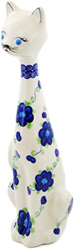 Polish Pottery 12½-inch Cat Figurine (Blue Poppies Theme) + Certificate of Authenticity