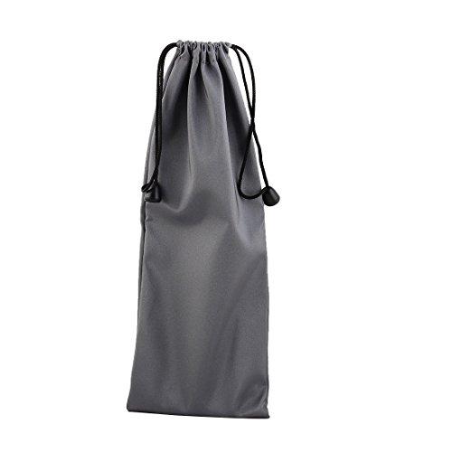 uxcell PE Drawstring Closure Handheld Monopod Storage Packing Bag Pouch Holder 27cm x 10cm Gray