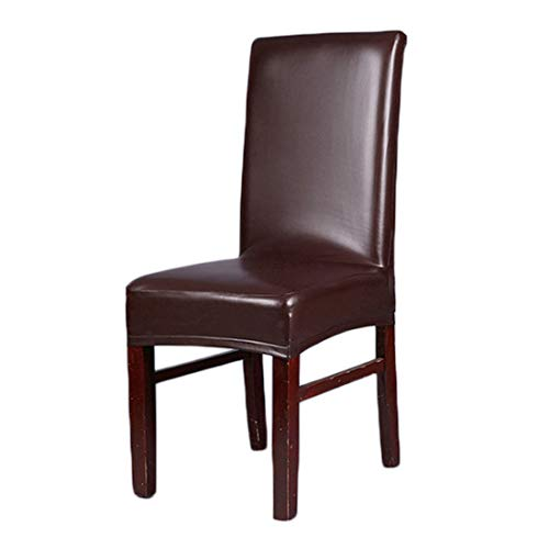 Deisy Dee Solid Color PU Leather Stretch Waterproof Chair Protector Covers For Dinging Living Room Chair C051 (brown)