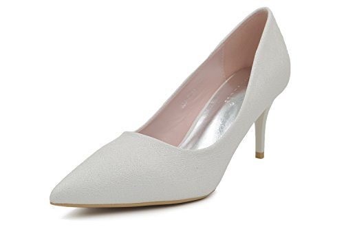 Pointed Toe Very High Heels (Melesh Wedding Dress Bridal High Heels Women Pointed Toe Pumps Shoes (7 B(M) US - EU 37, Bling White))