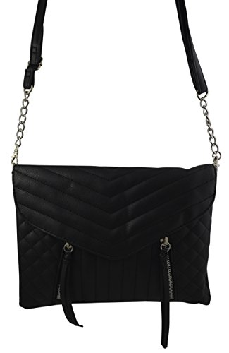 Women's Girl's Quilted Crossbody Bag Clutch Purse V-Flap Quilt Envelope Chain Shoulder Bag (Black) (Cross Body Flap Bag)
