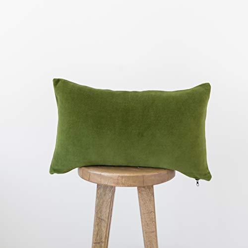 Woven Nook Decorative Velvet Lumbar Throw Pillow Cover ONLY for Couch, Sofa, or Bed 12x20'' Soft Lush Modern Quality Design in Velvet Lumbar (Olive Green) (Green Lumbar Pillow)