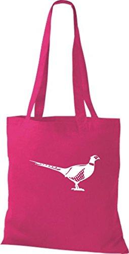 Shirtstown Stoffbeutel Tiere Fasan, Vogel Fuchsia
